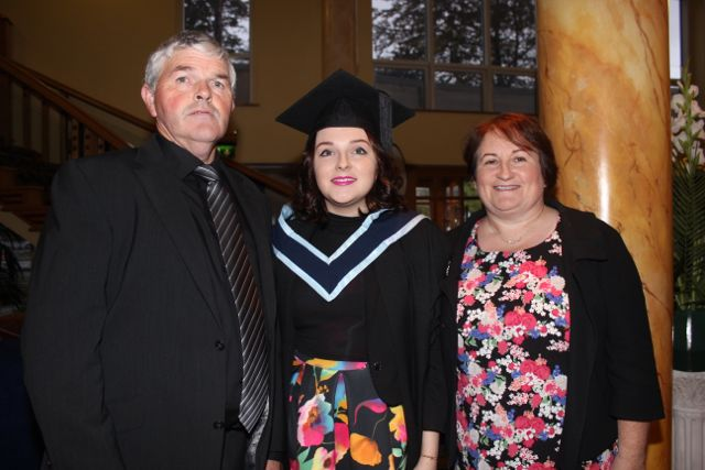 Kelly Collins who received her honours degree in Social Care with Dan and Mary Collins at the IT Tralee graduation ceremony at the Brandon Hotel on Friday. Photo by Dermot Crean