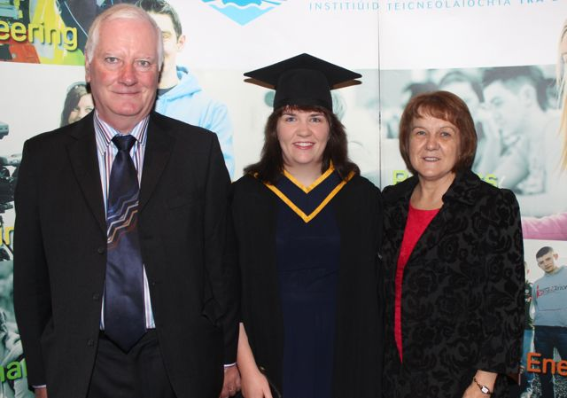 Claire O'Driscoll, Cork, who qualified in General Nursing, with Herman and Rosanna O'Driscoll, at the IT Tralee graduation ceremony at the Brandon Hotel on Friday. Photo by Dermot Crean