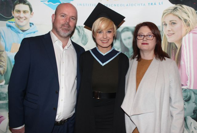 Shannon Meaney, Limerick, who graduated in Youth And Community Practice with Alan And Marie Meaney at the IT Tralee graduation ceremony at the Brandon Hotel on Friday. Photo by Dermot Crean