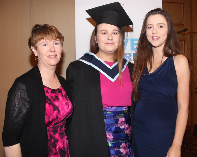 Aine Baer, who received a BA in Social Care with Maura Rothery and Roisin Barry at the IT Tralee graduation ceremony at the Brandon Hotel on Friday. Photo by Dermot Crean