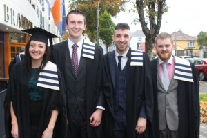 Teresa O'Connell (Culinary Arts), Mark Hartnett (Culinary Arts), Brendan Cronin (Culinary Arts) and Sean O'Connor (Culinary Arts) at the ITT graduation ceremony at the Brandon Hotel on Thursday. Photo by Gavin O'Connor