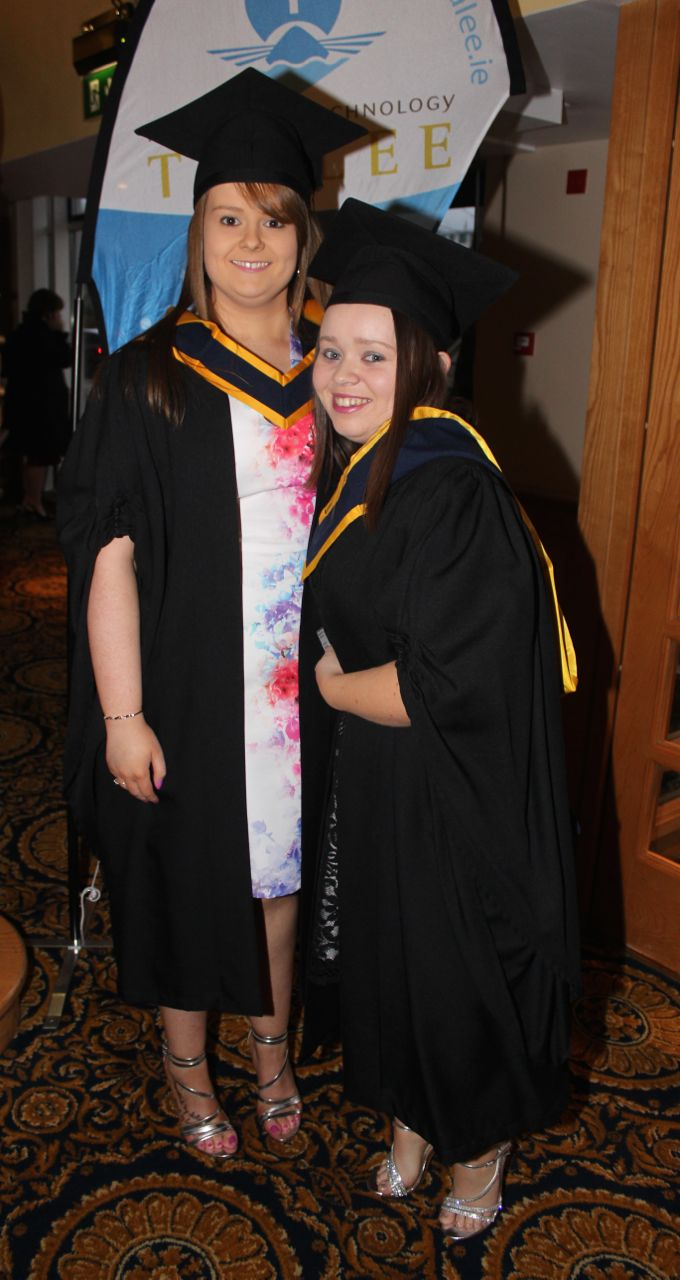 Linda Hartley, Limerick, and Deirdre Lenihan, Newcastlewest, who qualified in General Nursing at the IT Tralee graduation ceremony at the Brandon Hotel on Friday. Photo by Dermot Crean