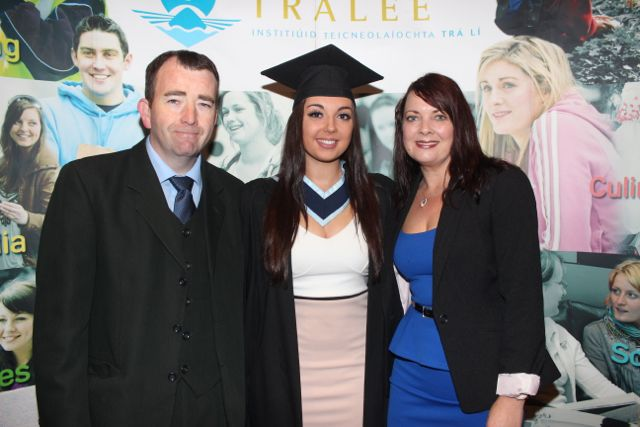 Rachel McBride, Tralee, who qualified in Youth and Community Work, with parents Richard and Bridget, at the IT Tralee graduation ceremony at the Brandon Hotel on Friday. Photo by Dermot Crean