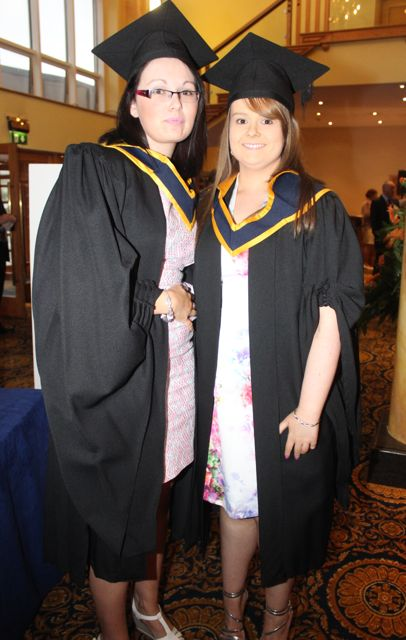 Karen Maher, Newmarket, (General Nursing) and Linda Hartley, Limerick (General Nursing) at the IT Tralee graduation ceremony at the Brandon Hotel on Friday. Photo by Dermot Crean