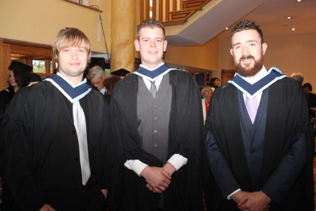 Paul Loughlin, Keel, Joachim As, Limerick and Brendan Curran, Doneraile, who qualified with a degree in Social Care, at the IT Tralee graduation ceremony at the Brandon Hotel on Friday. Photo by Dermot Crean