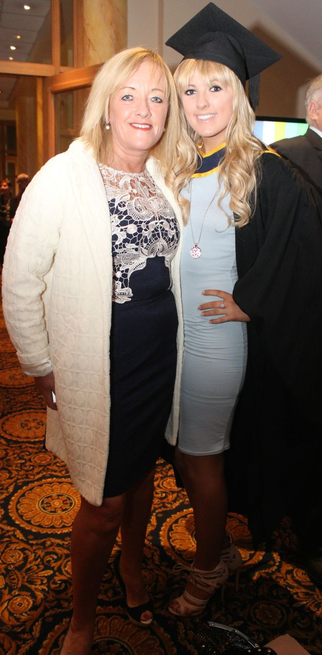 Kellie Taylor, Tralee, who qualified in General Nursing, with Mary O'Reilly, Tralee, at the IT Tralee graduation ceremony at the Brandon Hotel on Friday. Photo by Dermot Crean