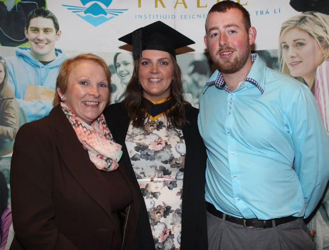 Laura Cronin, Killarney, who qualified in Mental Health Nursing with Mary B Cronin and Colm White, at the IT Tralee graduation ceremony at the Brandon Hotel on Friday. Photo by Dermot Crean