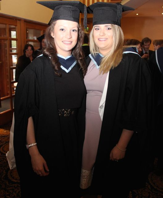 Sarah Brosnan, Tralee (Early Childhood Care and Education) and Gráinne O'Meara, Keel (Youth and Community Work) at the IT Tralee graduation ceremony at the Brandon Hotel on Friday. Photo by Dermot Crean