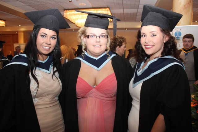 Bridget O'Carroll, Ballybunion, Mary Kennelly, Lisselton and Rebecca Doyle, Killorglin, all qualified in Early Childhood Care and Education, at the IT Tralee graduation ceremony at the Brandon Hotel on Friday. Photo by Dermot Crean