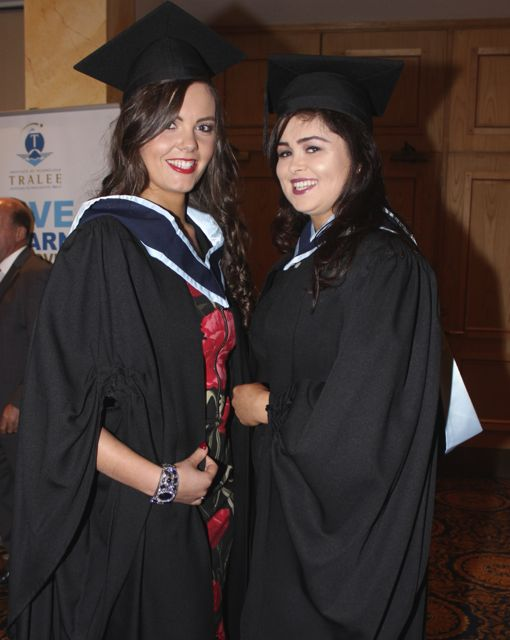 Colette Moloney, Abbeyfeale, Katie Mangan, Knocknagoshel, both qualified with degrees in Early Childhood Care and Education at the IT Tralee graduation ceremony at the Brandon Hotel on Friday. Photo by Dermot Crean