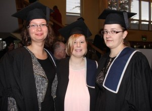 Joanna Chrobak, Poland, Carmel Walker, Tralee and Katarzyna Owczarz, who qualified in Would Care Management, at the IT Tralee graduation ceremony at the Brandon Hotel on Friday. Photo by Dermot Crean