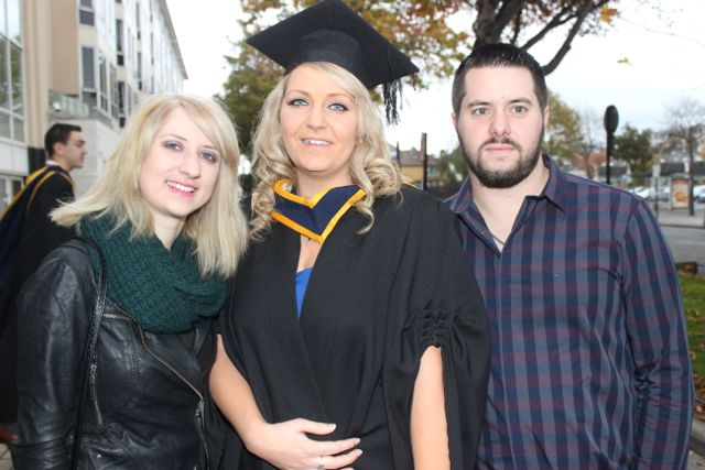Jennifer O'Connell, Ashford in Limerick who qualified in General Nursing, with Lana Raftery and Michael Carey, Tralee at the IT Tralee graduation ceremony at the Brandon Hotel on Friday. Photo by Dermot Crean