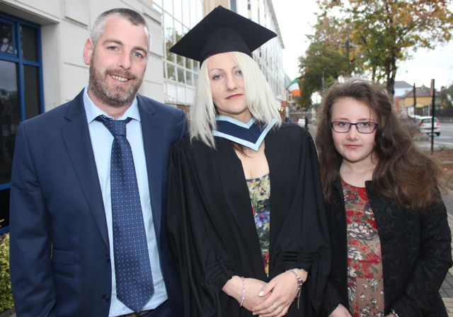 Mary Finucane, Ballylongford, who got an honours degree in Early Childhood Care and Education, with James Kelly, Asdee and Danielle Finucane, Ballylongford, at the IT Tralee graduation ceremony at the Brandon Hotel on Friday. Photo by Dermot Crean
