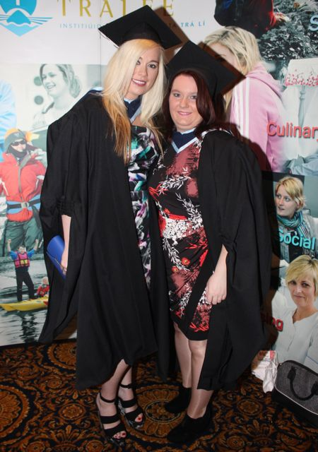 Emma Colbert, Abbeyfeale and Rebecca Casey, Ballyheigue, who qualified in Early Childhood Care and Education at the IT Tralee graduation ceremony at the Brandon Hotel on Friday. Photo by Dermot Crean