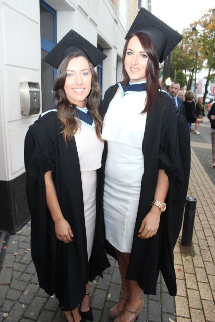 Sinead Kelly, Cahersiveen and Laura McCrohan, Tralee, who both qualified in Early Childhood Care and Education at the IT Tralee graduation ceremony at the Brandon Hotel on Friday. Photo by Dermot Crean