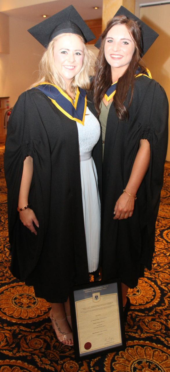 Rachel Crowley and Kate O'Shea, Cork, both qualified in General Nursing at the IT Tralee graduation ceremony at the Brandon Hotel on Friday. Photo by Dermot Crean