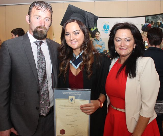 Shauna Goggin, Ballybunion, who qualified in Youth and Community Work, with Jimmy Goggin and Rosarie O'Connor, at the IT Tralee graduation ceremony at the Brandon Hotel on Friday. Photo by Dermot Crean