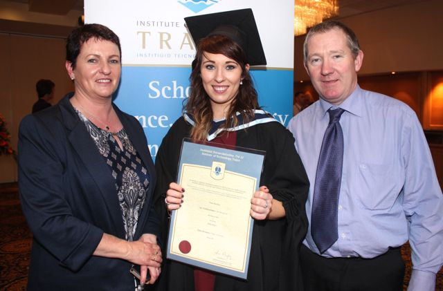 Clare Buckley, Kanturk, who qualified in Social Care, with Geraldine and Paul Buckley, at the IT Tralee graduation ceremony at the Brandon Hotel on Friday. Photo by Dermot Crean