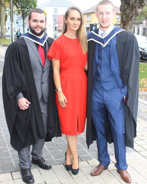 Stephen Butler (TV and Radio and New Media Broadcasting), Karen Harrington and Micheal Beckett (Music Technology) at the ITT graduation ceremony at the Brandon Hotel on Thursday. Photo by Gavin O'Connor
