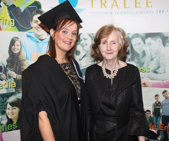 Sinead Liston, Newcastlewest, who qualified with a Diploma in Wound Care Management, with Pauline Liston, at the IT Tralee graduation ceremony at the Brandon Hotel on Friday. Photo by Dermot Crean