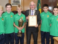 The Tralee contingent at the Kerry Kennedy Cup winning team's civic reception held in Kerry County Council chambers, from left: Christopher Kane, David Rogers, Sebastion Vasiu, Mayor of Kerry Pat McCarthy, Paddy O'Rourke and James Sheehan. Photo by Gavin O'Connor.