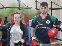 Katie Donoghue and Akeem Molloy in the ring where the charity fight night in aid of The Miscarriage Association of Ireland  will take place. Photo by Gavin O'Connor.