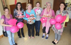 At the Paint It Pink morning in Shanakill Resource Centre were, from left: Ciara Donnelly, Teresa O'Carroll, Julie Moriarty, Catriona Moriarty, Marian Moore and Andrea Dolan. Photo by Gavin O'Connor.