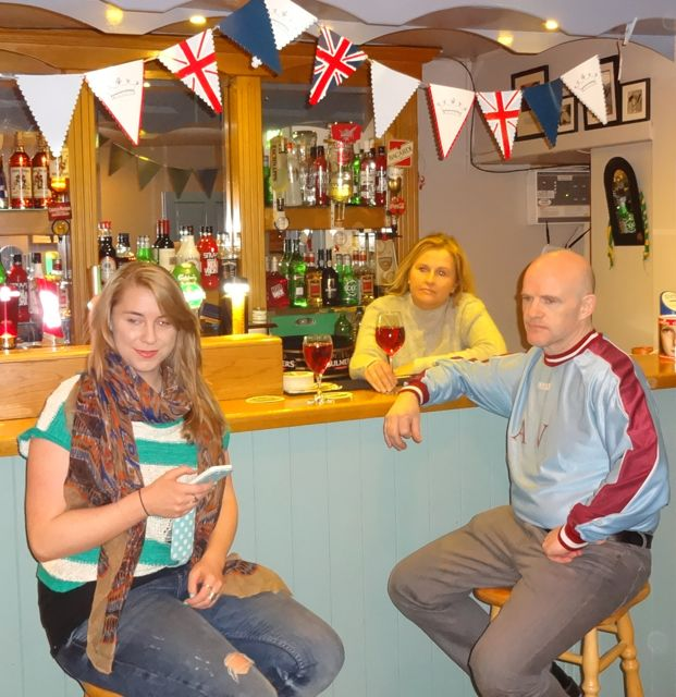 Shona Murphy, Geraldine Parker and Rory O'Mahony in rehearsals for 'A Queen's Speech' at Parker's Bar, Kilflynn.
