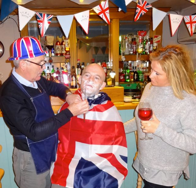 Mike O'Halloran, Rory O'Mahony and Geraldine Parker in rehearsals for 'A Queen's Speech' at Parker's Bar, Kilflynn.