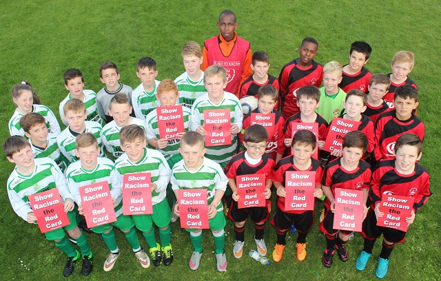Listowel Celtic on the left and St Brendans Park on the right showing racism the red card before their FAI National Cup game Wednesday evening. Photo by Gavin O'Connor.