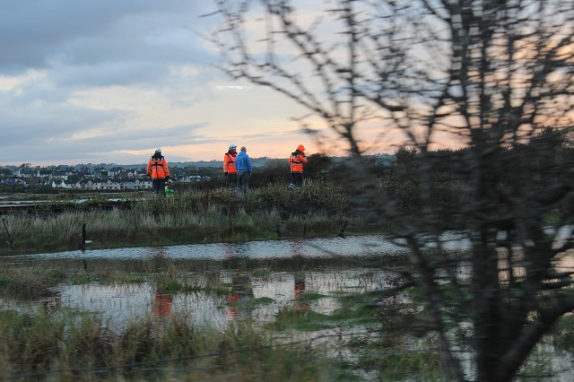 Rescue workers search the area around the canal amd Kearney's Road. Photo by Gavin O'Connor.