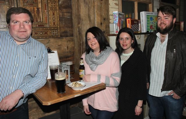 Shane O'Sullivan, Susan Healy, Barbara Liston and Gavin Fahy at the table quiz in aid of Sera Husky Animal Rescue in Roundy's Bar on Thursday night. Photo by Dermot Crean