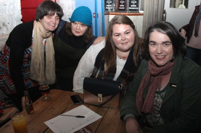 Rebecca Lyons, Mary Sheehan, Zara O'Dowd and Maria McCarthy at the table quiz in aid of Sera Husky Animal Rescue in Roundy's Bar on Thursday night. Photo by Dermot Crean