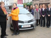 Kay Kirby being presented with a brand new Toyota Yaris by Christine Fitzgearld of Tralee Credit Union. Photo by Gavin O'Connor.