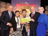 John Joe Fitzgerald from Listowel, Co. Kerry has won €40,000 on last Saturdays (10th October 2015) National Lottery Winning Streak game show on RTE.  Pictured here at the presentation of the winning cheques were from left to right: Marty Whelan, Winning Streak game show co-host; Carmel Kehoe, the winning participant who played on behalf of her brother John Joe Fitzgerald; John Joe Fitzgerald, the winning recipient; Harry Cooke, Head of Corporate Affairs at the National Lottery who made the presentation and Sinead Kennedy Winning Streak game show co-host. The winning ticket was bought from Garvey's Supervalu, Listowel, Co.Kerry. Pic: Mac Innes Photography.