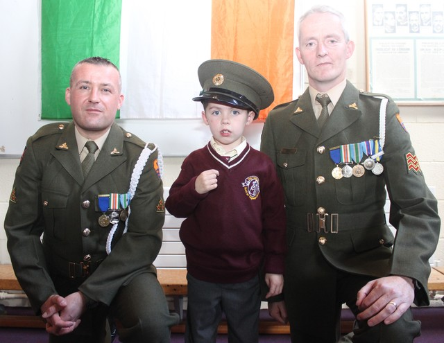 Holy Family pupil, Davy J Flaherty, who's dad, David, is currently on active duty with the army in Lebanon. Photo by Gavin O'Connor.