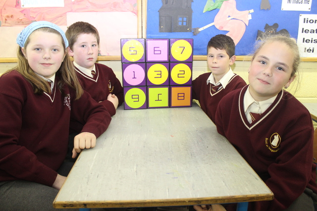 Holy Family pupils taking part in Maths Week were from left: Trina Moriarty Flynn, Aaron Day, Cian Cooney and Alisa Stoianova. Photo by Gavin O'Connor.