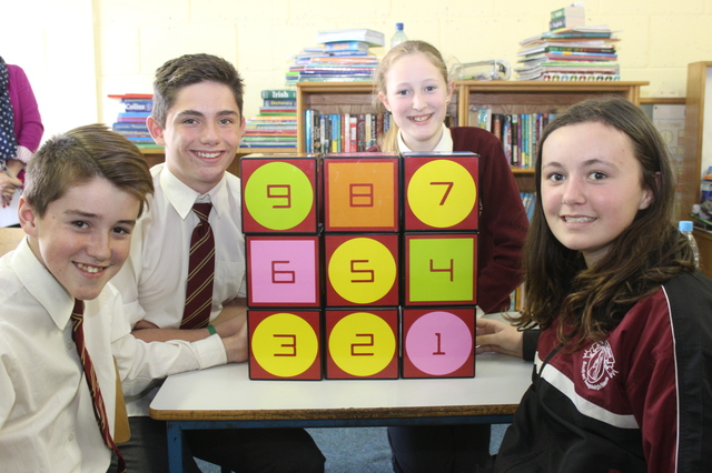 Holy Family pupils taking part in Maths Week were from left: Dean Farrell, Conor Commane, Norella Quirke and Natalie Hennessy. Photo by Gavin O'Connor.
