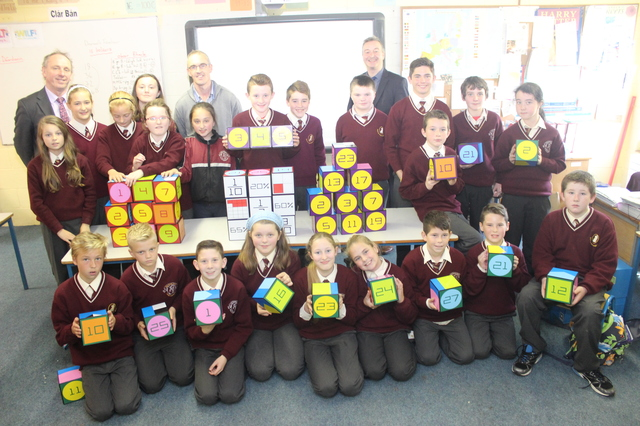 Teachers and pupils who took part in Holy Family Maths Week. Photo by Gavin O'Connor.