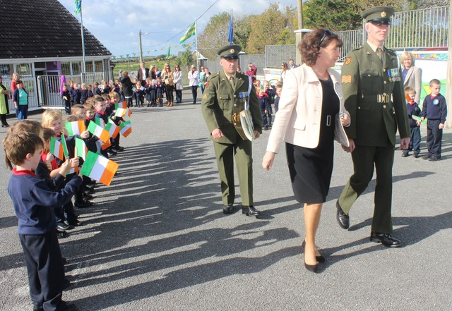 Listellick Principal Annette Dineen, welcomes Sgt Chris Hore and Gnr James Power to the school. Annette Dineen.
