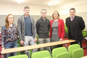 With Minister Jan O'Sullivan were on the far right principal of Kerry College Of Further Education, Brian Harkin and from the left, Norah O'Connor, Aaron O'Malley, Niall Carmody and Jan O'Sullivan. Photo by Gavin O'Connor.