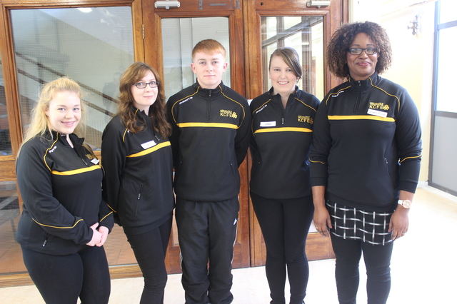 At the Kerry College of Further Education for the official opening by minister Jan O'Sullivan were, from left: Katelyn Lyons, Brid Doherty, Kevin Greensmith, Emma Murphy and Koko Rose Kouassi, Photo by Gavin O'Connor.