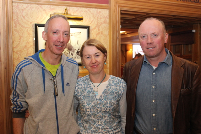At the Tralee Parnells Mark Doe cookery demonstration in the Meadowlands were, from left: Gerard O'Brien, Linda O'Brien and Seamus Cadogan. Photo by Gavin O'Connor.