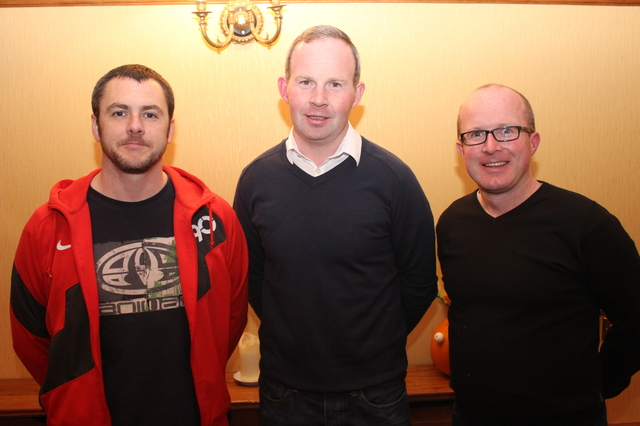 At the Tralee Parnells Mark Doe cookery demonstration in the Meadowlands were, from left: David Brick, Mark Ryall, Brian Shanahan. Photo by Gavin O'Connor.