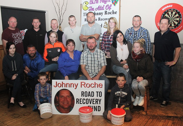 Supporters of Johnny Roche launching the Road to Recovery Fund 80's Night to be held in McElligotts Bar, Ardfert this Saturday night at 9pm. Photo by Gavin O'Connor.