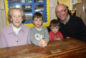 The oldest surviving past pupil Mary Daly with grandchildren Rory and James, and son Sean at the launch of 'Blennerville School And Community - A Story Worth Telling' at the school on Saturday. Photo by Dermot Crean
