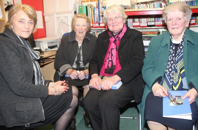 Eileen O'Connor with past pupils Hannah Kerins, Hannah Mai Allman and Anne Devane at the launch of 'Blennerville School And Community - A Story Worth Telling' at the school on Saturday. Photo by Dermot Crean