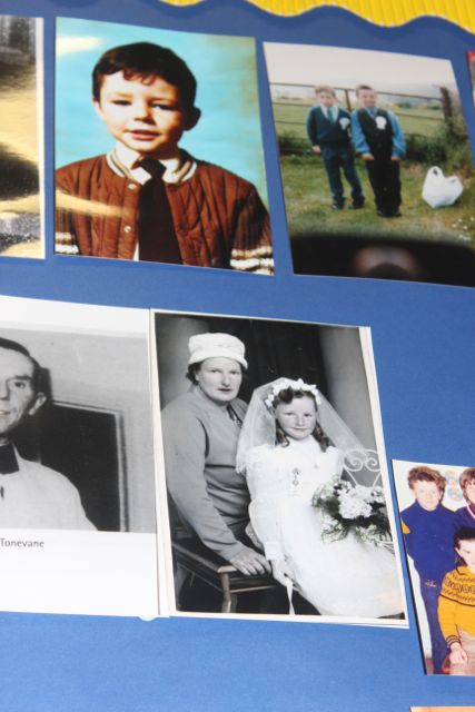 Photographs of John McElligott (top) and Bridget and a young Geraldine McElligott on the Memory Wall at the launch of 'Blennerville School And Community - A Story Worth Telling' at the school on Saturday. Photo by Dermot Crean