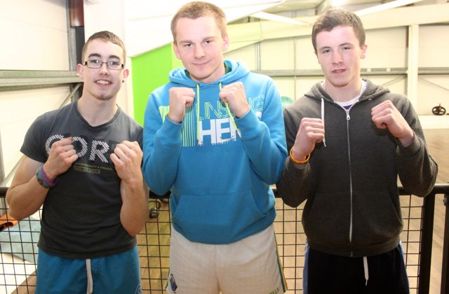 Darren Moloney, Darren O'Sullivan and TJ Mullane at the charity fight night in aid of the Miscarriage Association of Ireland at the BTS Fitness gym in Manor Park on Thursday night. Photo by Dermot Crean
