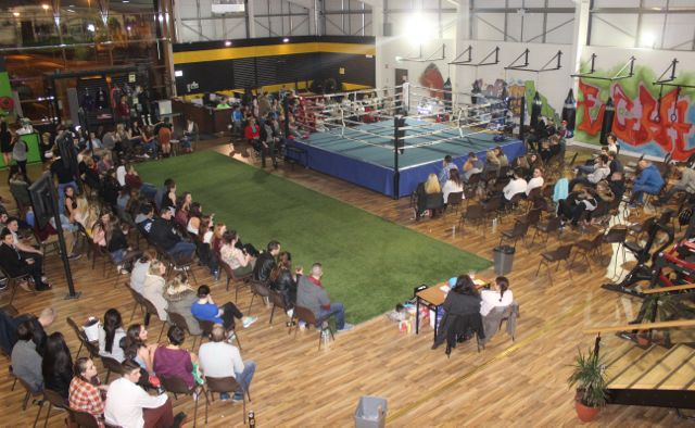 Some of the crowd before the start of the charity fight night in aid of the Miscarriage Association of Ireland at the BTS Fitness gym in Manor Park on Thursday night. Photo by Dermot Crean